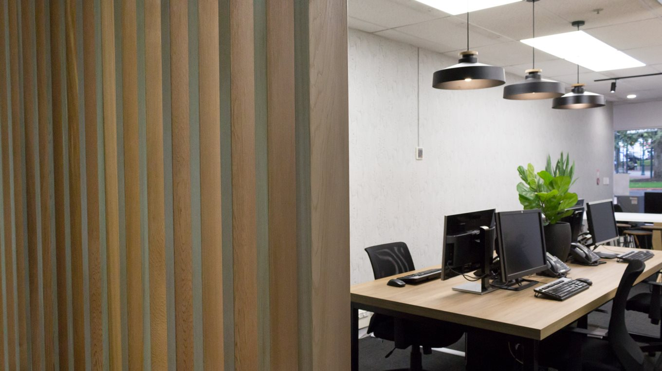 wooden partition wall commercial interior design miller creative dunedin