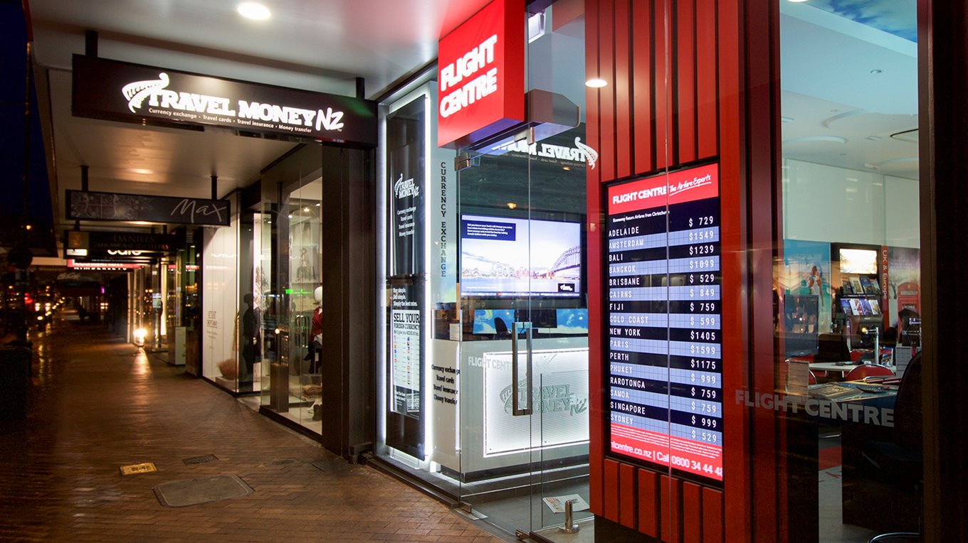 external illuminated signage flight centre dunedin