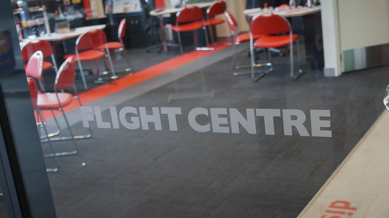 Window graphics flight centre the crossing