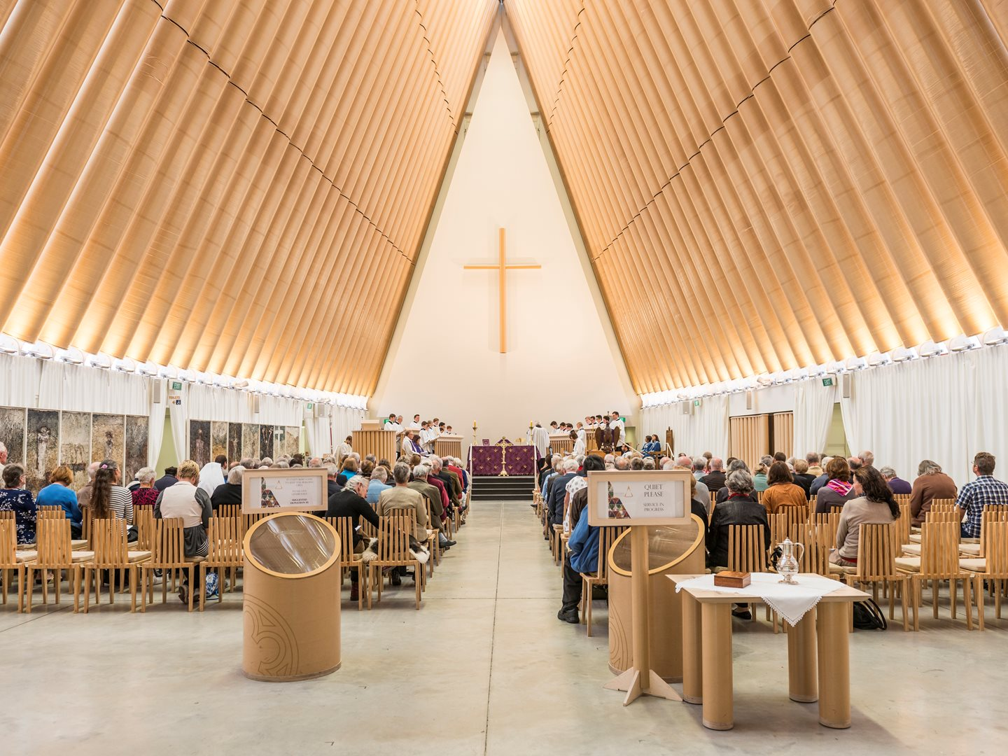 Cardboard cathedral project bespoke fit out